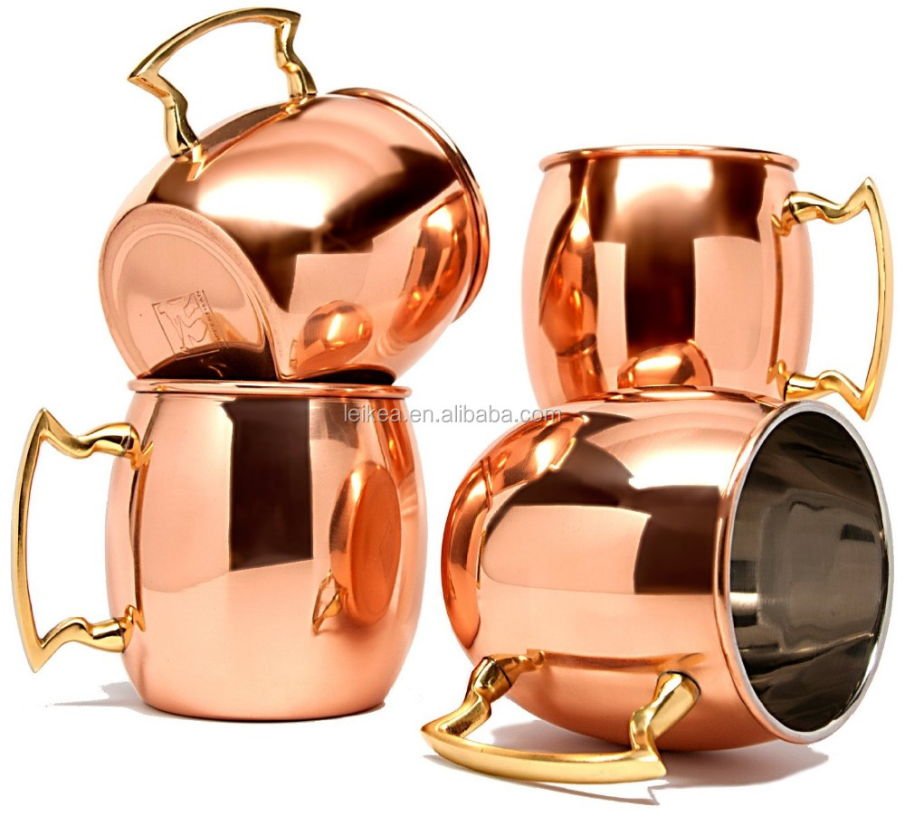 18Oz Absolut Vodka Mule Copper Mug,Hammered Lacquered Finish Indian Drinkware