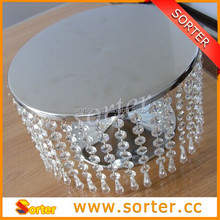 2015 new products ROUND CRYSTALS SILVER CAKE STAND RISER PEDESTAL HOLDER