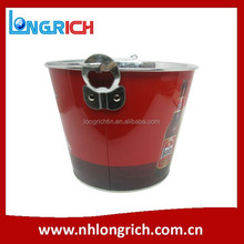 custom metal tinplate ice bucket with bottle opener for beer wholesale