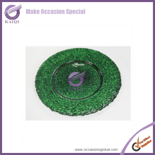 Cheap Decorative Wedding Colored Green Glass Dinner Charger Plates Wholesale