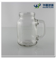 250ml 8oz round clear glass mason jar with handle and metal lid