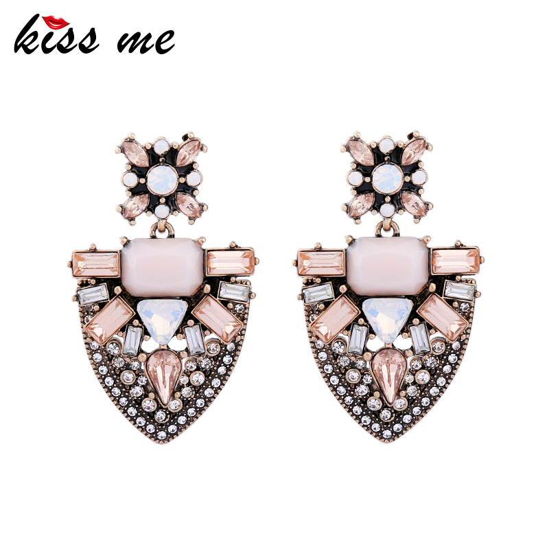 Pink Geometric Crystal <strong>Earrings</strong> for Women 2017 Statement <strong>Earrings</strong> Alloy Vintage Jewelry Accessory