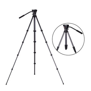 Thor 2019 New design Aluminum 5 Leg Section Tripod Kit with Fluid Head for dslr Camera Video Film Shooting