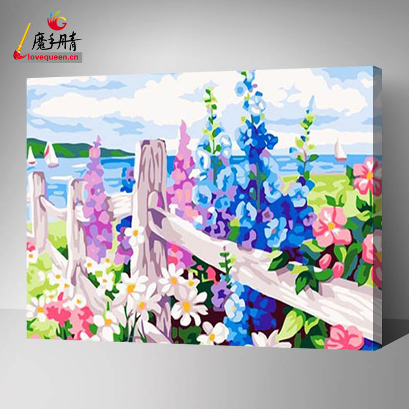 On canvas flower painting for hand made natural scenery DIY oil painting by numbers kits with equiment designs