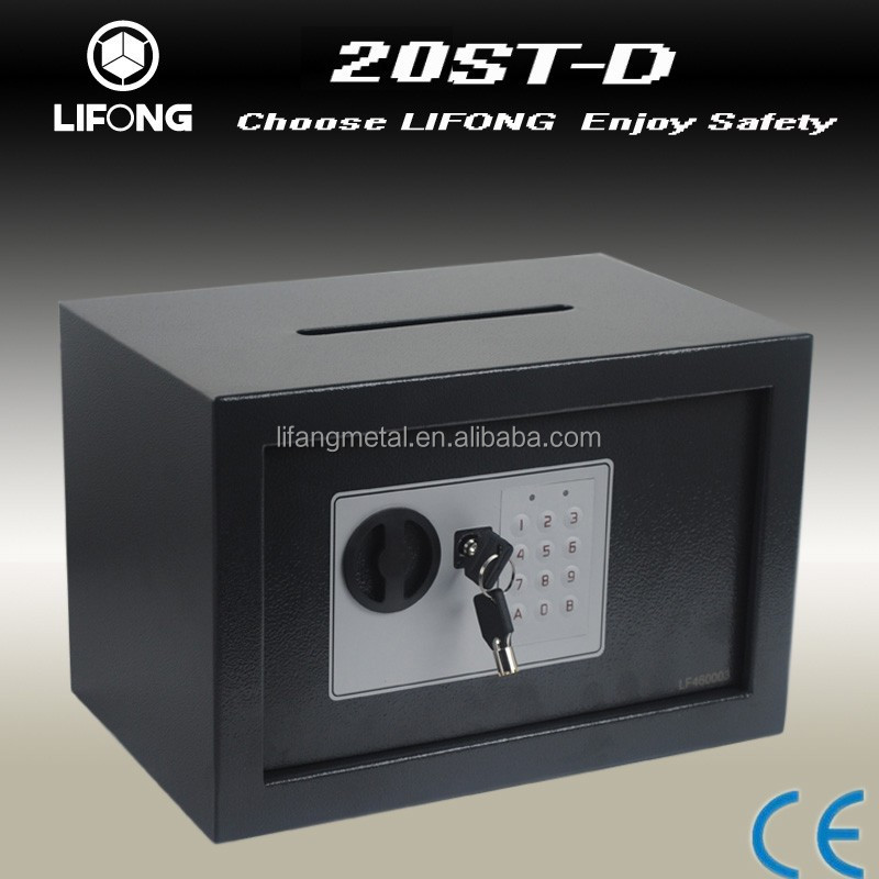 Mini digital or key money safe bank with a dropping slot on the safe