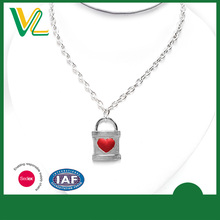OEM Design Bulk Zinc Alloy Metal Silver Plated Lock Charm Round Ring Sterling silver Necklace for women
