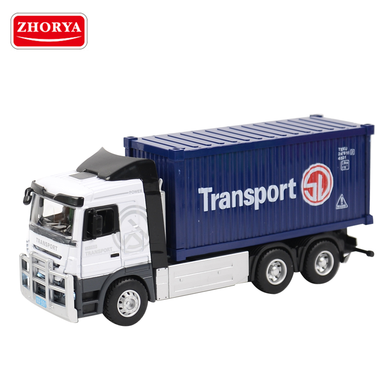 zhorya 1:32 scale customized logo kids metal diecast toy model container truck