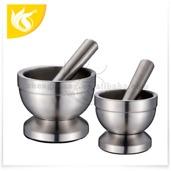 High quality Herb Spice Mortar with pestle set Stainless steel Kitchenware grinding cup