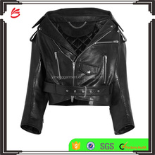 High Fashion! Women Wearing Short Version Double Zipper Closured Motorbiker Black Leather Jacket with Belt