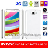 "5.7"" 720P HD Android 4.2 Quad Core Dual Sim 8MP AF camera 3G Smart phone"