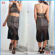 New Fashion Ladies Two Piece Halter Dress Adult Lady Girls Black Lace Party Dress