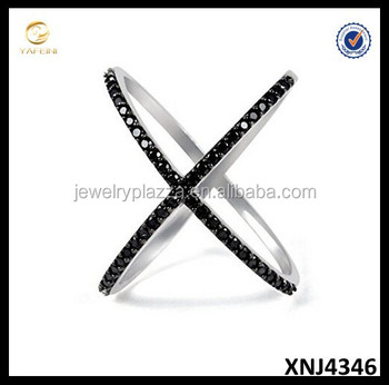 Cubic Zirconia CZ Criss-Cross Silver Ring Single X Silver Ring 925 Sterling Silver Jewelry