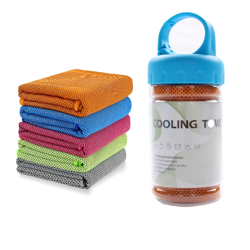 Owned Factory Supply Microfiber printed logo Instant Cooling Sports <strong>Towel</strong> With PET Bottle