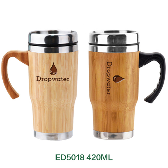 Customized personalized unique stainless steel bamboo coffee mug thermos flask with engraved logo