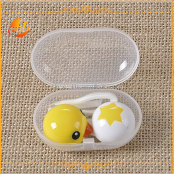 Cute small chicken and egg shaped cheap plastic cute contact lenses case/box