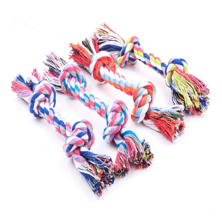 Colorful Pet Bitten Rope for Dogs Double Knot Cotton String Pet Toy Small Pet Rope Toys