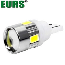 T10 Super bright 6 smd 5630 led projector lens auto wedge lamp WY5W 194 192 W5W 5730 led car marker light parking bulb 12V 6000K
