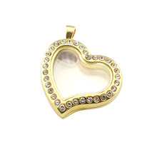 Chain Clear Diamond Wholesale Stainless Steel Heart Shape Floating Living Lockets