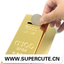 Quality ensured emulation design Gold Bullion style unbreakable piggy bank