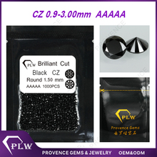 China Wholesale Black CZ Stones 1 Carat Cubic Zirconia