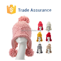 Custom Design Women Knit Hat Funny Knitted Hat Pompom Beanie Cap Knit Hat With Ear Flap