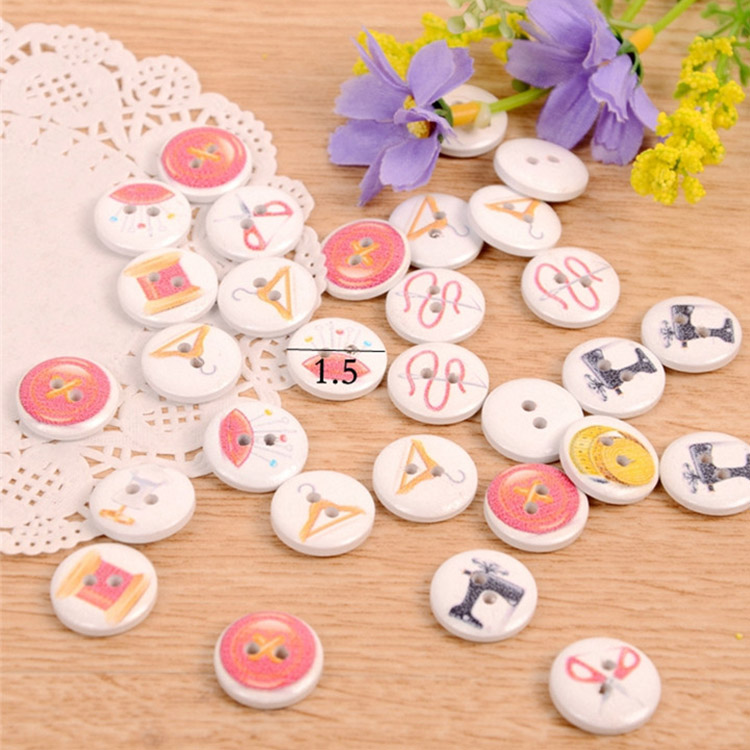 DIY clothing accessories colourful printed 2 holes wooden buttons