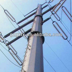 110KV Galvanized Transmission Power Tubular Pole Octagonal / Polygonal Steel Poles
