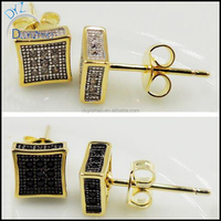 two tone 3D hip hop mens brass earring