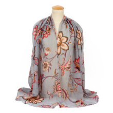 Chinoiserie Women's Silk Feeling Chiffon Voile Printing Scarves, Neck Scarf, Shawl Wrap for Ladies and Girls