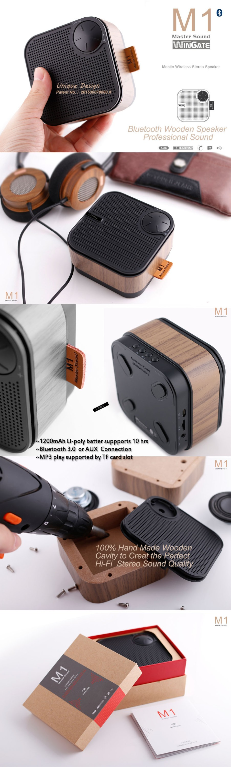 Personalized Portable Hand Made wooden HIFI bluetooth Speaker