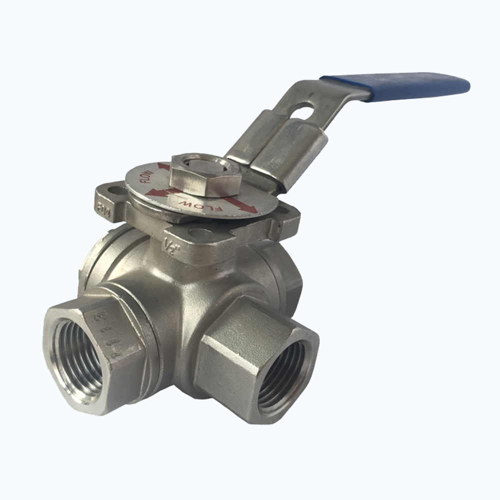 "1"" inch 1000 PSI cf8, cf8m stainless steel bsp threaded 3 way ball valve"