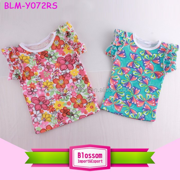 Cotton Fabric Floral And Butterfly Baby Girls Swing Top Double Ruffle Flutter Sleeve Tank Top