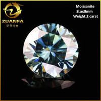 2015 new arrival VVS round brilliant cut loose 8mm 2 carat moissanite blue diamond