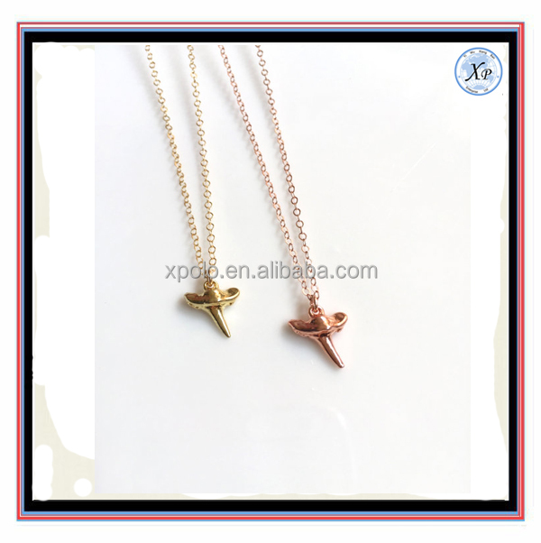 Fashion Wholesale Gold silver Rose Gold Beautiful Shark Tooth Necklace