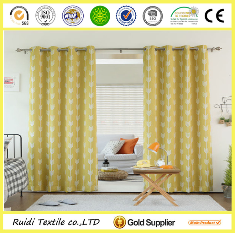 Custom Design Printed 100% Polyester Blackout Grommet Curtain Window Curtain
