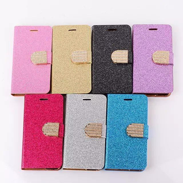 Bling Bling Fashion Newest Leather Flip Shining Glitter Diamond Leather Case for iPhone6 6s Magnetic Wallet With Card Slots