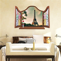 Colorcasa PVC 3D effect wall sticker removeable wall decal open window wall sticker home decor for living room(8017C)