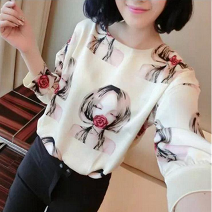 Hot selling loose and comfortable long sleeve tee shirt women printed t shirt wholesale china