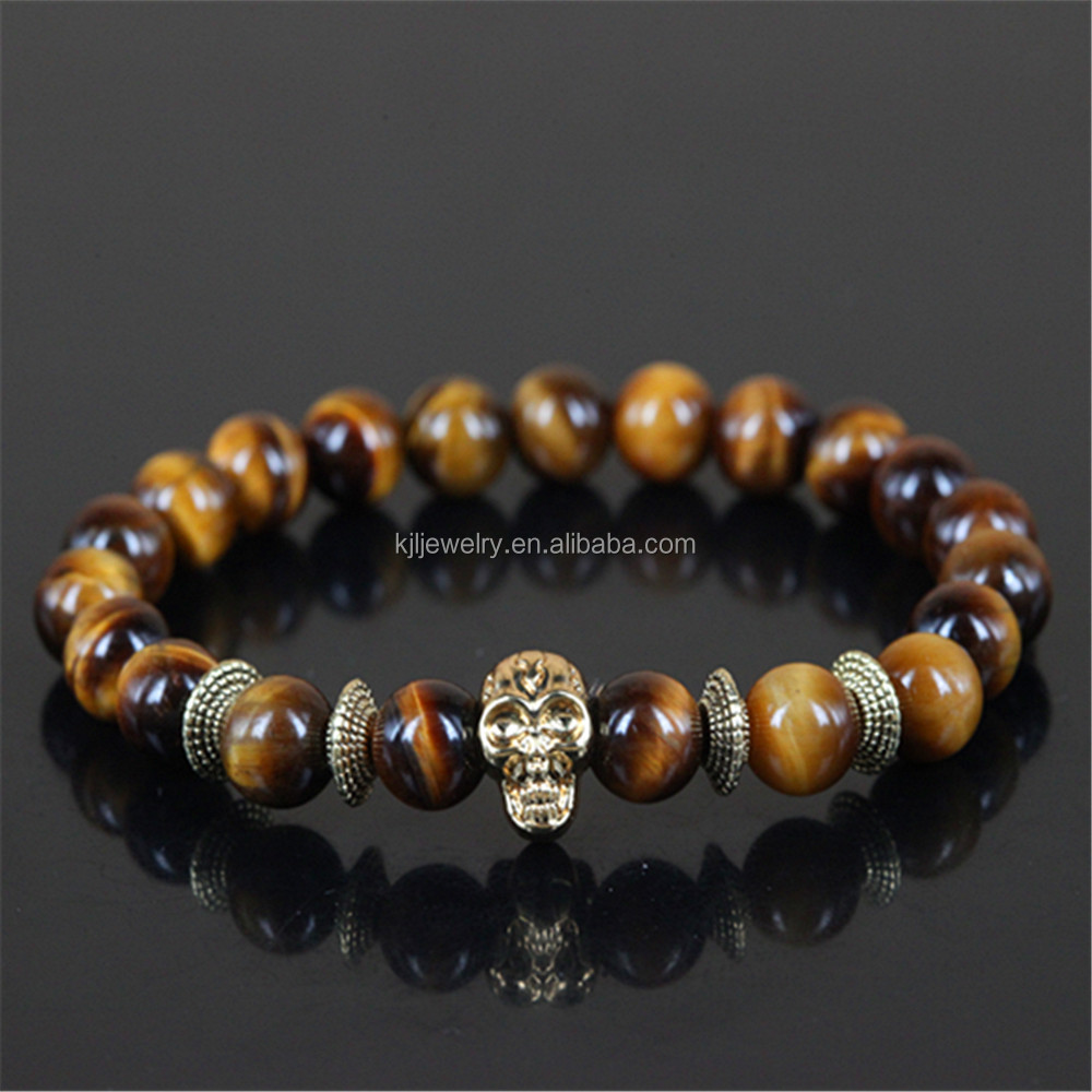 KJL-M2236 Hot Sell natural tiger eye beads and 24k gold plating skull head bracelets Classical & trendy round beads bracelet