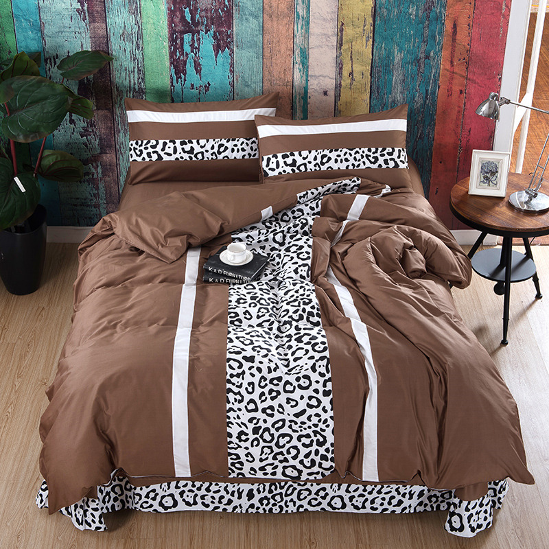 Leopard cotton 4pc print queen size bedding set european style printed patchwork bed sheets