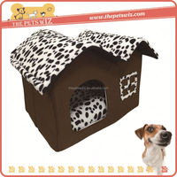 Plush pet bed tent cover ,CC070 outdoor dog bed with canopy , dog in kennel