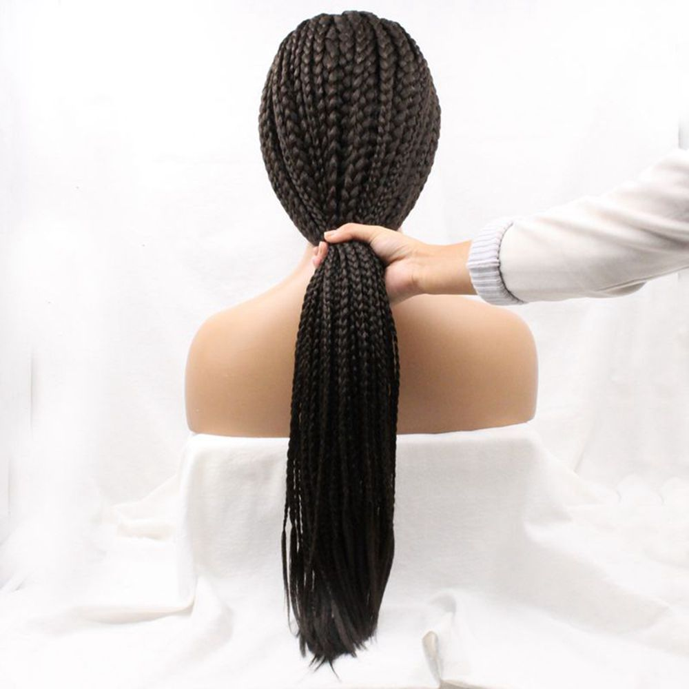 Fantasy Hand Tied Braiding Hair For Black Women Natural Womanly Bun Braided Wig 130% Density Free Shipping Cheap Synthetic Wigs