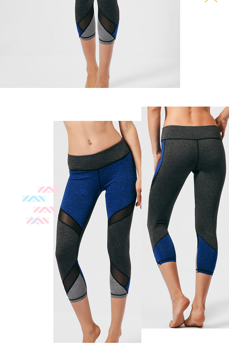 OEM women 3/4 black mesh insert leggings athletic tight gym sports compression fitness yoga pants capri