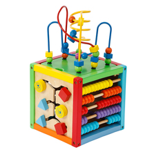 Multifunctional wooden beads maze toy kids activity cube maze toy educational toys for kids