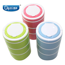 Korean food grade plastic 3 layers cylindrical plastic container