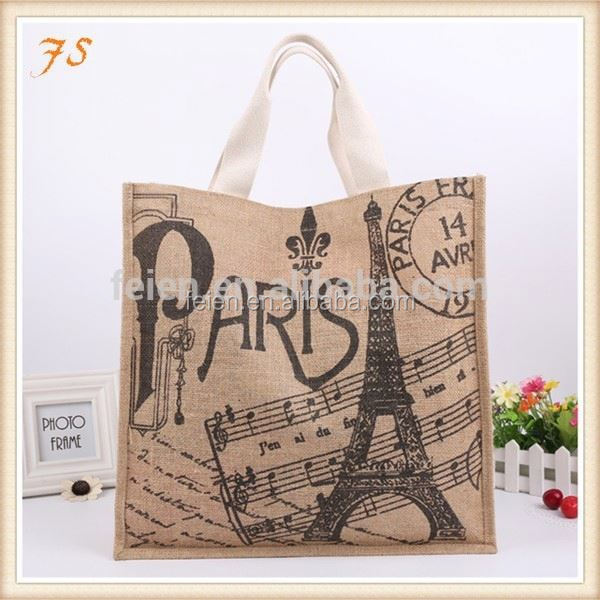 tote burlap fabric wine bottle jute bag