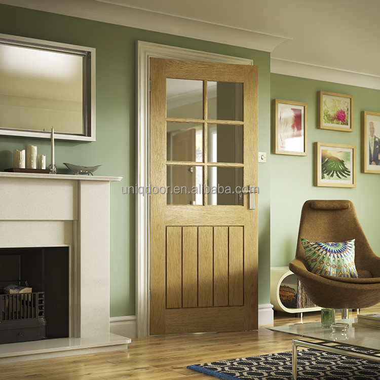 Contemporary solid wood mahogany/oak 6 panel interior doors with glass