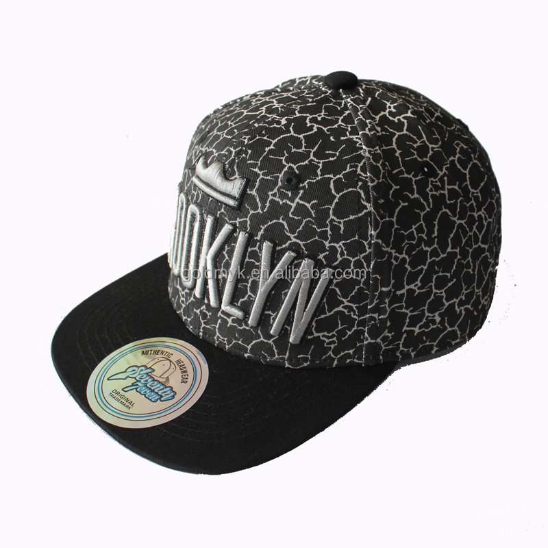 Printing black simple snapback cap with embroidery logo