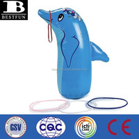 China manufacturer inflatable dolphin ring toss game plastic animal shape ring toss water game toys