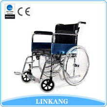 619 2017 Hot sale portable folding steel manual wheelchair with bedpan